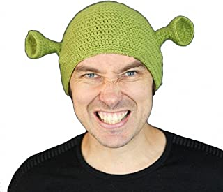 JcxHat Men's Green Funny Monster Ears Crochet Chunky Warm Winter Knit Hat Beanie Skully Cap