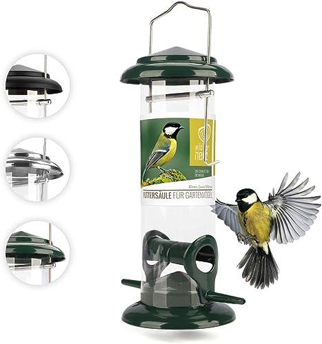 Mangeoire Oiseaux Exterieur en métal Inoxydable 23,5cm - Distributeur Graines Oiseaux I Mangeoire à Oiseaux Distribut...