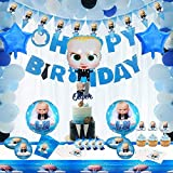 Magichui Baby Boss Birthday Decorations, Baby Boss Party Supplies Set, Baby Party Supplies, Children Carnival Party Supplies Decoration - Banner, Balloon, Cake Topper, Servilletas, Blowouts, Banderín