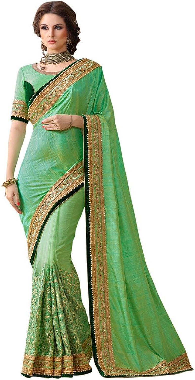 EthnicWear Green Womens Reception Wear Indian Net Silk Designer Saree