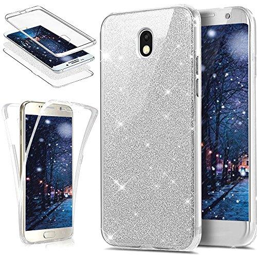 Kompatibel mit Galaxy J3 2017 Hülle Schutzhülle,Full-Body 360 Grad Bling Glänzend Glitzer Klar Durchsichtige TPU Silikon Hülle Handyhülle Tasche Front Cover Schutzhülle für Galaxy J3 2017,Silber