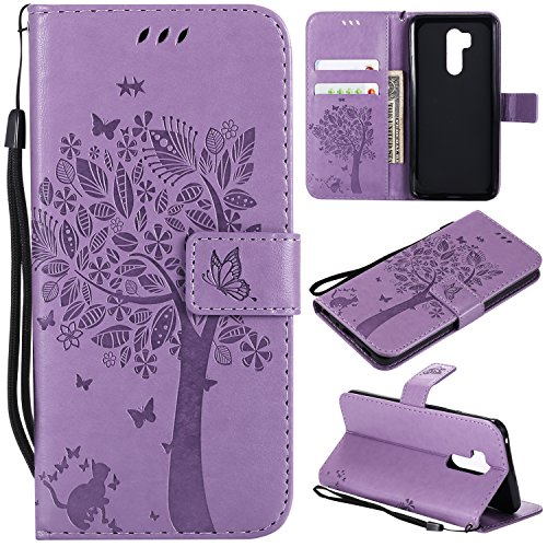 LG G7 ThinQ Case,LG G7 Wallet Case with Screen Protector,LG G7 ThinQ PU leather Protective Case Emboss Cat and Tree Folio Magnetic with Card Holder Kickstand and Flip Case for LG G7 ThinQ Light Purple