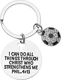 Soccer Charm Keychain, Christian Faith Charm Keychain, I Can Do All Things Through Christ Who Strengthens Me Phil. 4:13 Scripture Jewelry, Soccer Gifts for Women and Men