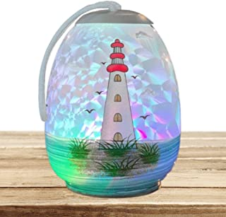 BANBERRY DESIGNS Nautical Gifts - Light House Home Decor - Lighted Globe with Hand Painted Lighthouse Design - LED Slow Color Changing Lights
