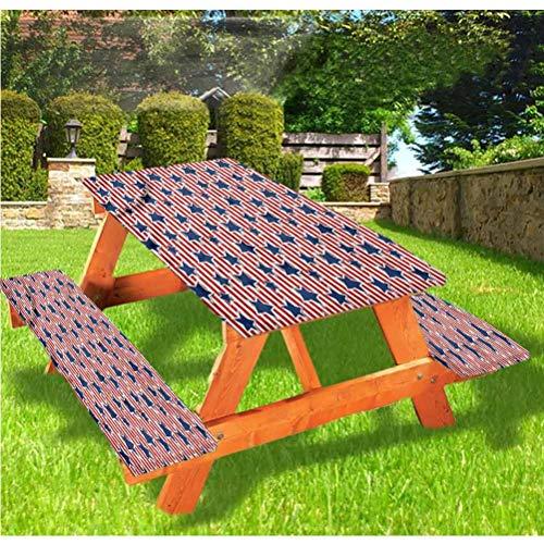 LEWIS FRANKLIN - Cortina de ducha para 4 de julio de lujo, cubierta de mesa de picnic, diseño de Old Glory con bordes elásticos, 70 x 172 cm, juego de 3 piezas para mesa plegable