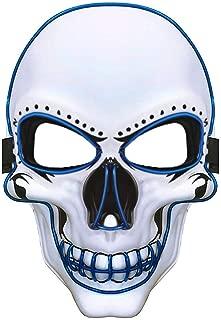 Charlemain LED Maske weiß,Totenkopfmaske,harmlose Halloween Maske mit 3 Blitzmodi für Halloween, Fasching, Karneval, Party, Kostüm Cosplay, Dekoration