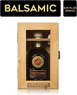 Due Vittorie Oro Gold Balsamic Vinegar of Modena. Highest score from The Consortium of Modena with Cork Pourer in Wooden Gift Box - 250ml