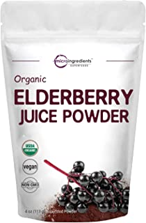 Certified Organic Elderberry Juice Powder, 4 Ounce, Rich in Immune Vitamins, Strongly Supports Immune System, Energy and V...