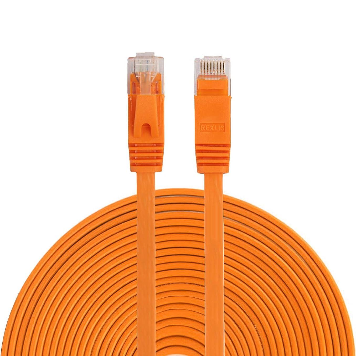 したい干し草決してWTYD コンピューターネットワークアクセサリー 15m CAT6超薄型フラット·イーサネット·ネットワークLANケーブル、パッチリードRJ45 コンピューターネットワーク用 (Color : オレンジ)