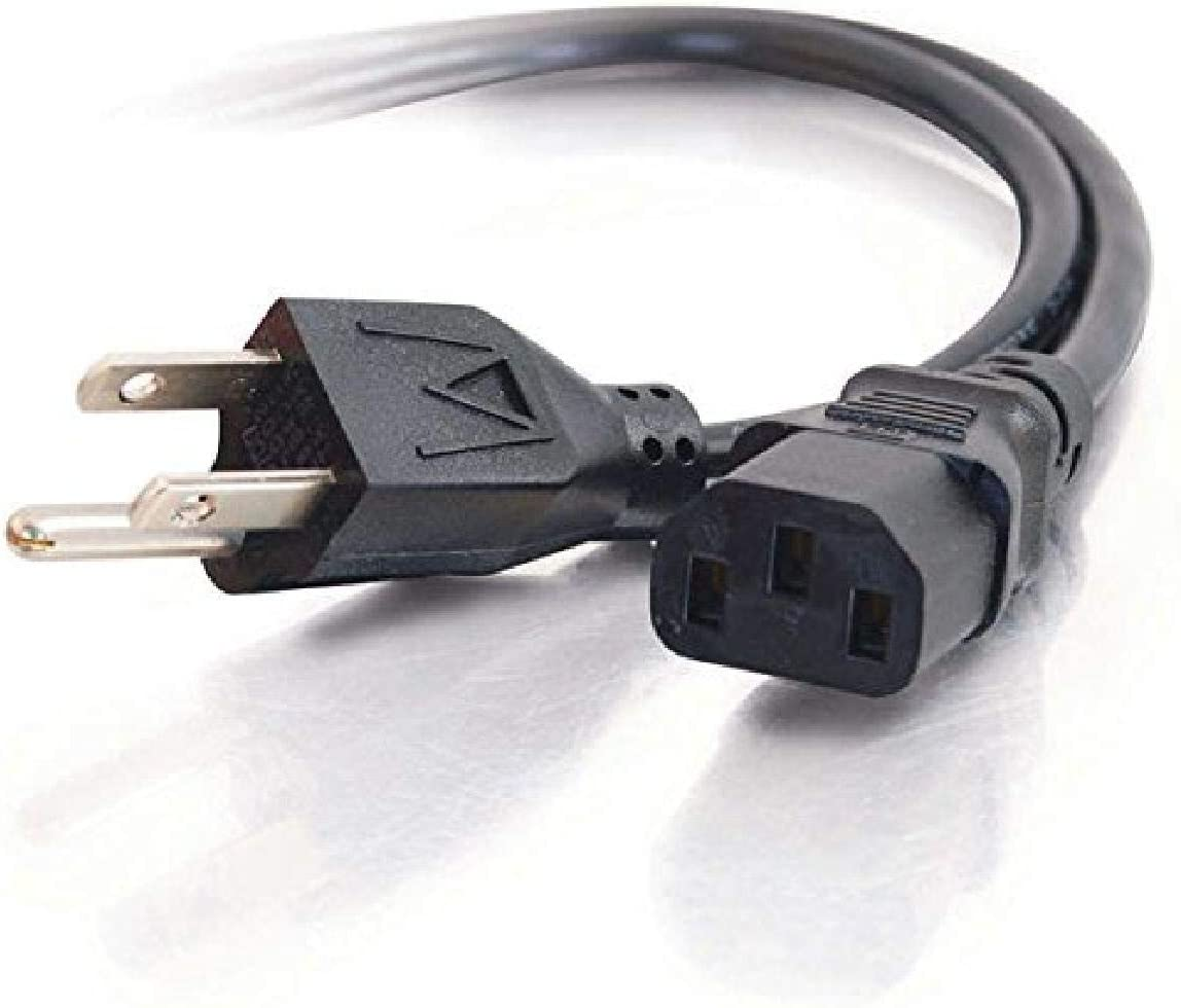 C2G Power Cord, Replacement Power Cable, 3 Pin Connector, Universal Power Cord, 5-15P to C13, 18 AWG, Black, 2 Feet (0.60 Meters), Cables to Go 29925
