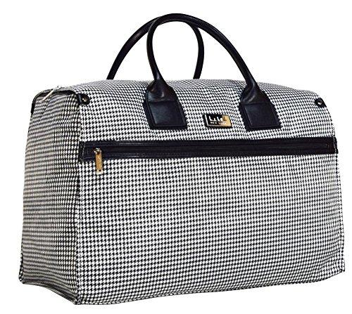 Nicole Miller New York Designer Travel Duffel Handbag Collection - Oversized 22 Inch Carry On for Women - Weekender Overnight Shoulder Tote Box Bag (Taylor Black/White Plaid)