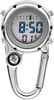 JewelryWe Men Women Digital Clip Watch Mini Microlight Watch Backpack Buckle Belt fob Watch for Rock Climbing Doctors Nurses Chefs
