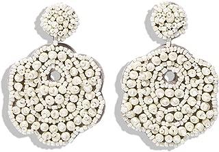 Beaded Tassel Hoop Earrings for Women - Statement Handmade Dangle Fringe Earrings for Women, Idea Gift for Sister, Wife and Friends