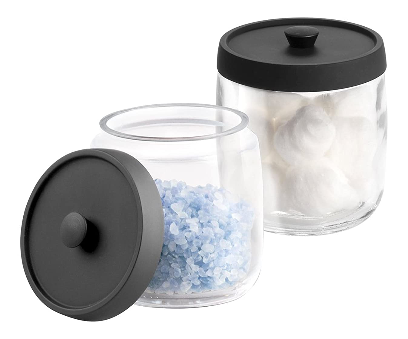 mDesign MetroDecor 2 Piece, Bathroom Vanity Glass Canister Jar for Cotton Balls, Swabs, Cosmetic Pads, Clear/Matte Black