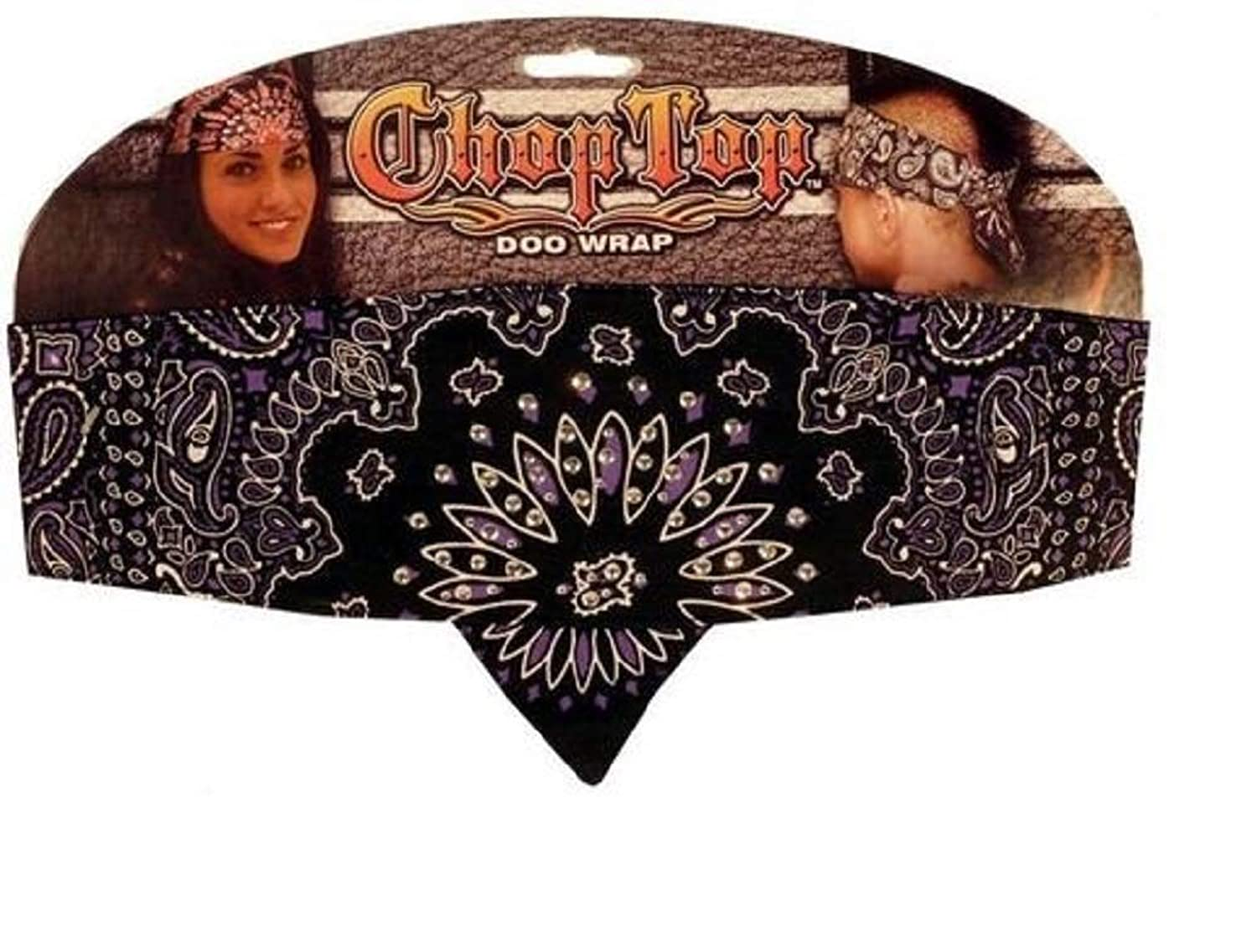 Black and Purple Paisley with Rhinestones Chop Top Biker Bandanna Style Headbands Head Wrap Adjustable with Sweatband ehhzwi1084130