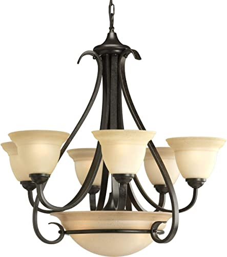 discount Progress Lighting P4417-77 discount 6-Light Two-Tier outlet online sale Torino Chandelier, Forged Bronze online