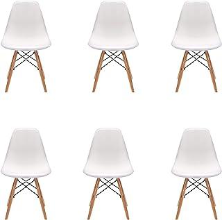 Pack 46 sillas de Comedor Silla diseño nórdico Retro Estilo (Blanco-Pack 6)
