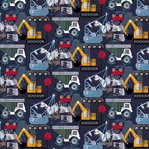 Jersey, Bagger und Lkws auf Senf/Rot/Blau als Meterware zum Nähen von Kinderbekleidung - GOTS Zertifiziert, 50 cm
