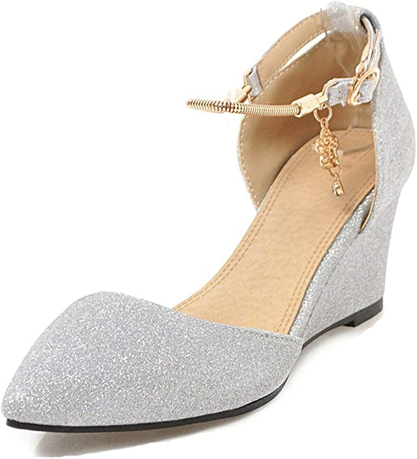 Unm Women's Glitter Sequins Buckled Medium Heel Dressy Closed Toe Wedge Sandals with Ankle Strap