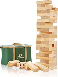 ApudArmis Giant Tumble Tower, 54 PCS Pine Wooden Toppling Tower Game with 1 Dice Set - Classic Block Stacking Game for Kids Adults Family (2Ft to Over 4.2Ft)