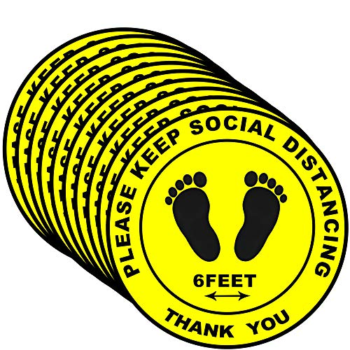 30 Pack Social Distancing Floor Decals Signs Stickers (Yellow) - Please Keep 6 Feet Apart Distance - 8' Round for Crowd Control Guidance, Grocery, Pharmacy, Bank, Lab