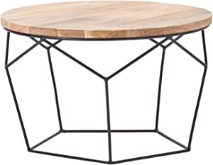 HOMESCAPES Natural Industrial Round Coffee Table 70cm Wide Geometric Solid Oak Shade and Black Metal 'Orion' Living Room Table Multi-Functional On-Trend Wooden Top Table W 70cm x D 70cm x H 45 cm
