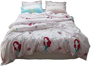 BuLuTu Mermaid Duvet Cover Queen Light Pink Kids Girls,3 Pieces 100% Cotton Premium Soft Reversible Ocean Princess Bedding Sets Comforter Cover for Teen Toddlers with Zipper Closure,NO Comforter
