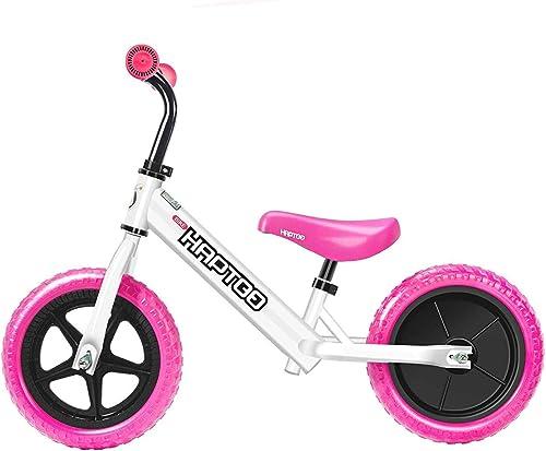 HAPTOO Vélo d'équilibre pour Enfants agés de 1 à 5 Ans, 10 Couleurs avec Guidon réglable et siège sans pédale pour Filles et Garçons