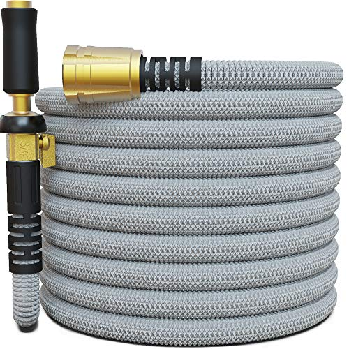 "Titan 50FT Garden Hose - All New Expandable Water Hose with Triple Latex Core 3/4"" Easy Removal Solid Brass Fittings Expanding Extra Strength Fabric Flexible Hose with Jet Nozzle and Washers (G)"