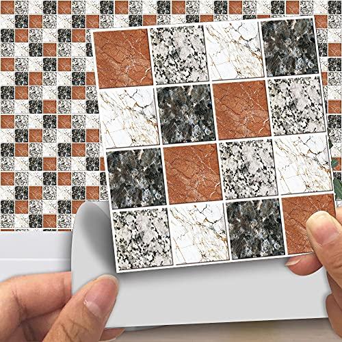 vinilos pared,15 piezas de adhesivos de mosaico mate para azulejos, adhesivos de pared autoadhesivos resistentes al desgaste para baldosas de sala de estar y dormitorio -15cm
