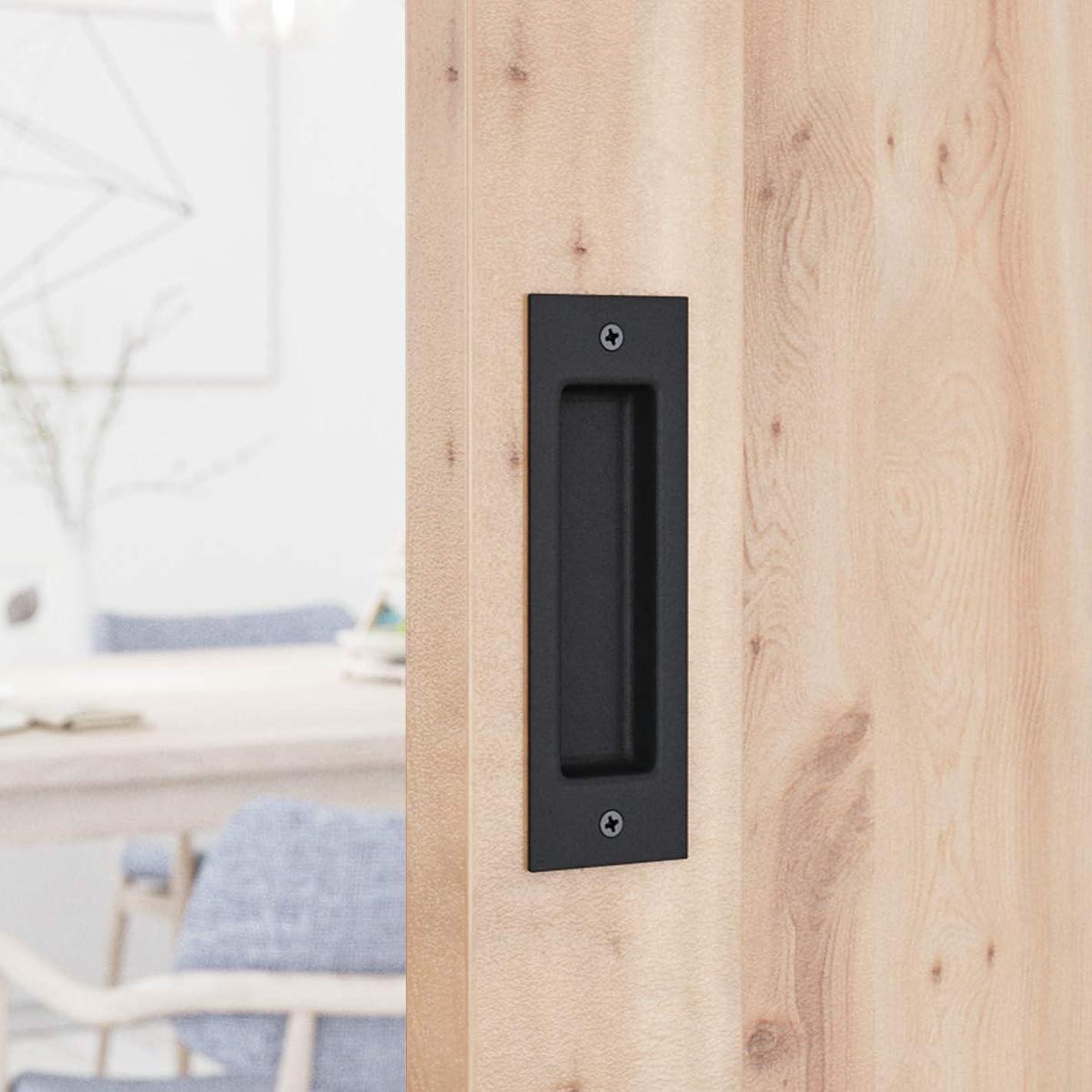 SMARTSTANDARD Flush Pull 6-1/2inch Matte Black Frosted Handle for Sliding Barn Door Hardware Finger Pull