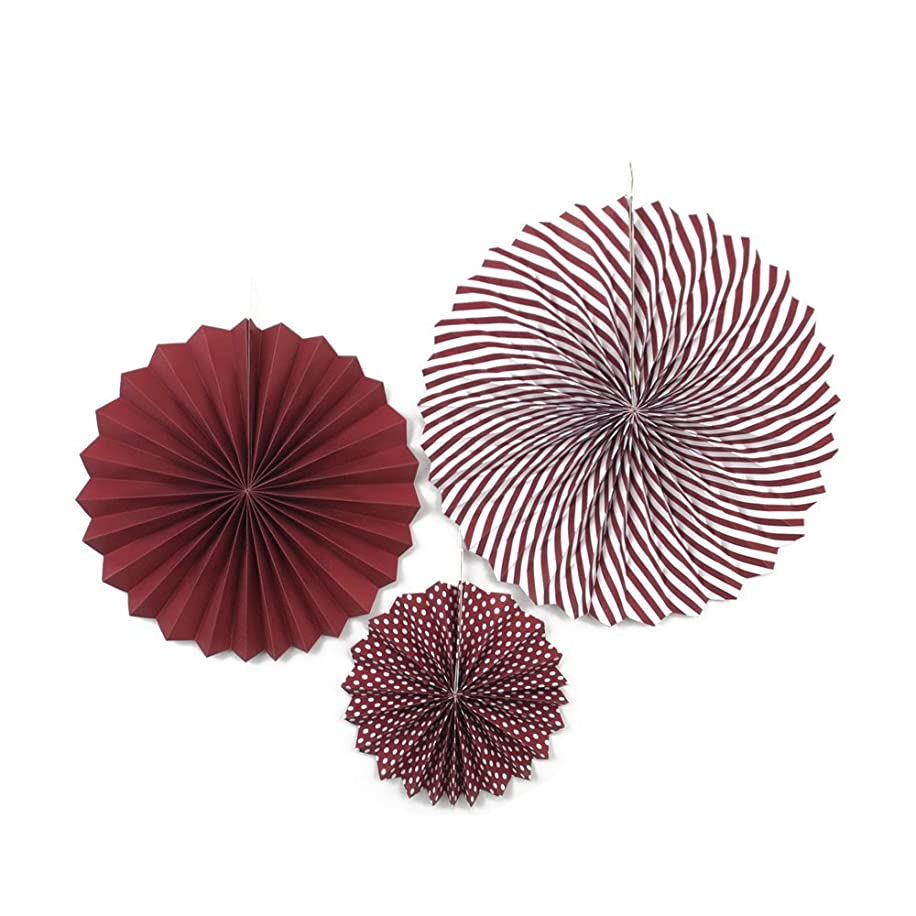 LUV RIBBONS PPF001-275 3 Piece Dots/Solid/Spiral Paper Fan 8