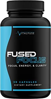 VitalFuse Caffeine Pills Nootropics Brain Supplement with Ginkgo Biloba GABA Supplement for Energy Boost and Increased Focus; Non-GMO, 60 Capsules