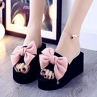 dihui Neoprene Sandals,Well wear cold slippers, anti-slip wear-resistant word high-heeled flip-flops-Pink_6,Sandals Leathe...