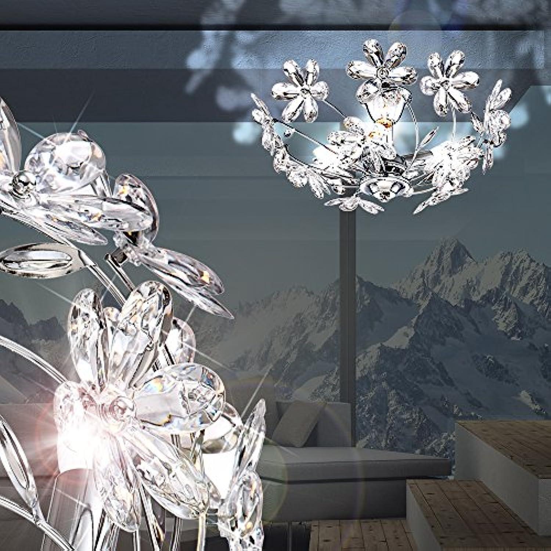 MIA Light Deckenleuchte Blüten aus Acryl klar in chrom