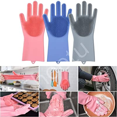 Chhotu Silicone Kitchen Magic Gloves for Dishwashing Rubber Dish Washing with Brush Cleaning Scrubber – 1 Pair (Multi Color)