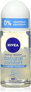NIVEA Natural Comfort 0% Aluminum 48H Roll-On Deodorant (50mL), Deodorant for Women, Effective 48H Odour Protection, Fresh...