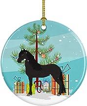 Caroline's Treasures Friesian Horse Christmas Ceramic Ornament, Multicolor