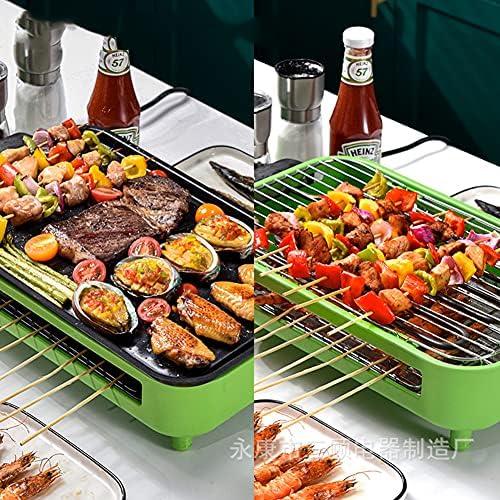 Barbecue Electrique de Table, Grill Electrique Sans Fumée, Double Étages Grill Interieur avec Bac Collecteur d'eau pour Appartement Jardin Balcon Terrasse