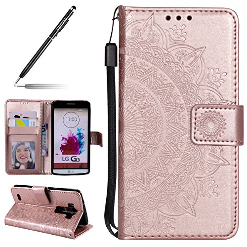 Uposao Kompatibel mit LG G3 Handytasche Klappbar Flip Hülle Prägung Blumen Tasche Leder Brieftasche Lederhülle Leder Handy Schutzhülle Cover mit Magnetverschluss,Rose Gold