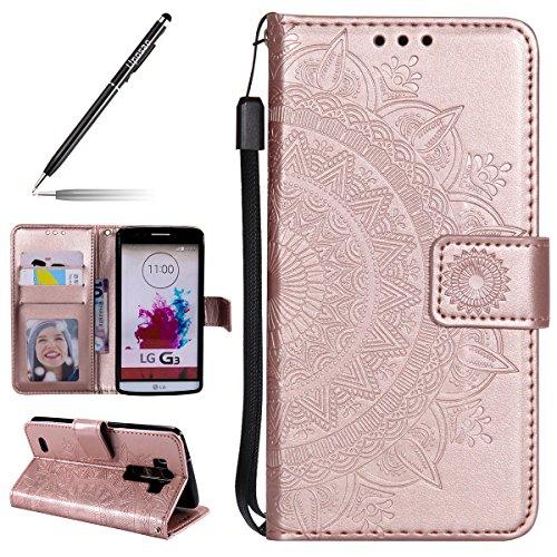 Uposao Kompatibel mit LG G3 Handytasche Klappbar Flip Case Prägung Blumen Tasche Leder Brieftasche Lederhülle Leder Handy Schutzhülle Cover mit Magnetverschluss,Rose Gold