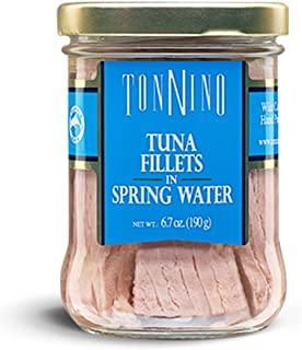 Tonnino Tuna Fillets Low Calorie and Gluten Free Yellowfin Jarred Premium Tuna in Olive Oil 6.7 oz