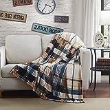 Tache Winter Cabin Blue Tan Farmhouse Super Soft Micro Fleece Tartan Plaid Plush Lightweight Dual-Sided Decorative Couch, Sofa, Travel, Lap, Bed Throw Blanket, 90x90, Full/Queen Size