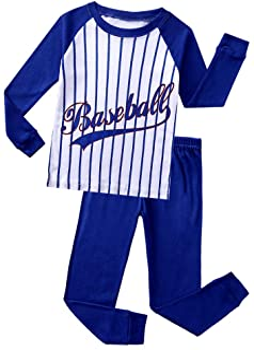 Image of 100% Cotton Long Sleeve Blue Baseball Pajamas for Boys