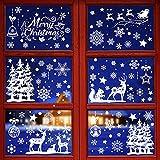 Pegatinas de Ventanas Navidad 9 Hojas Pegatinas Decorativas Blancas Copos de Nieve Renos Árbol de Navidad Merry Christmas Pegatinas Navideñas para Ventanas Hogar Restaurante Escaparate