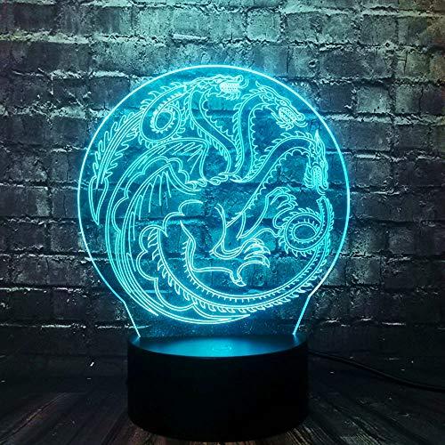 Led Spiel Drachen-Logo 3D Nachtlicht, Kinder Schlaflampe 7 Farbwechsel ,Fernbedienung Touch Usb Batteriebetriebenes Spielzeug Dekorative Lampe Weihnachten Für Kinder Geschenke