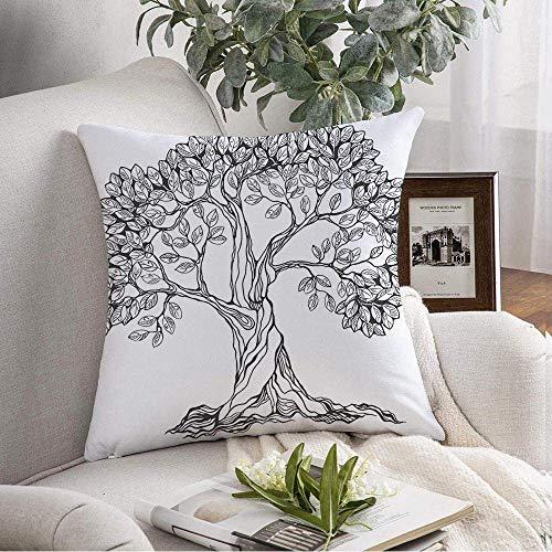Dekorativer quadratischer Wurfkissenbezug Handgezeichnete Baumzeichnung Symbol Design Isolierte Natur Blumen Bleistift Zeichen Symbole Pflanze Grafik Weiche Kissenbezug für Schlafzimmer Sofa Couch