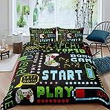 Juego de cama Tbrand para juegos de cama de tamaño único para niños, Gamepad, funda de edredón para niños y niñas retro videojuegos, juego de botones de control