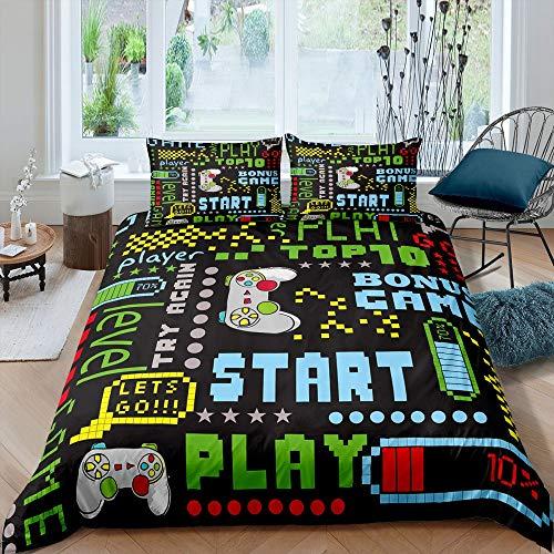 Tbrand Gaming-Bettwäsche-Set, King-Size-Größe für Jungen, Gamepad, Bettbezug, Kinder, Jungen, Mädchen, Retro, Videospiele, Schmusetuch für Gamer, Spielsteuerungstasten, Bettbezug, modern, bunt