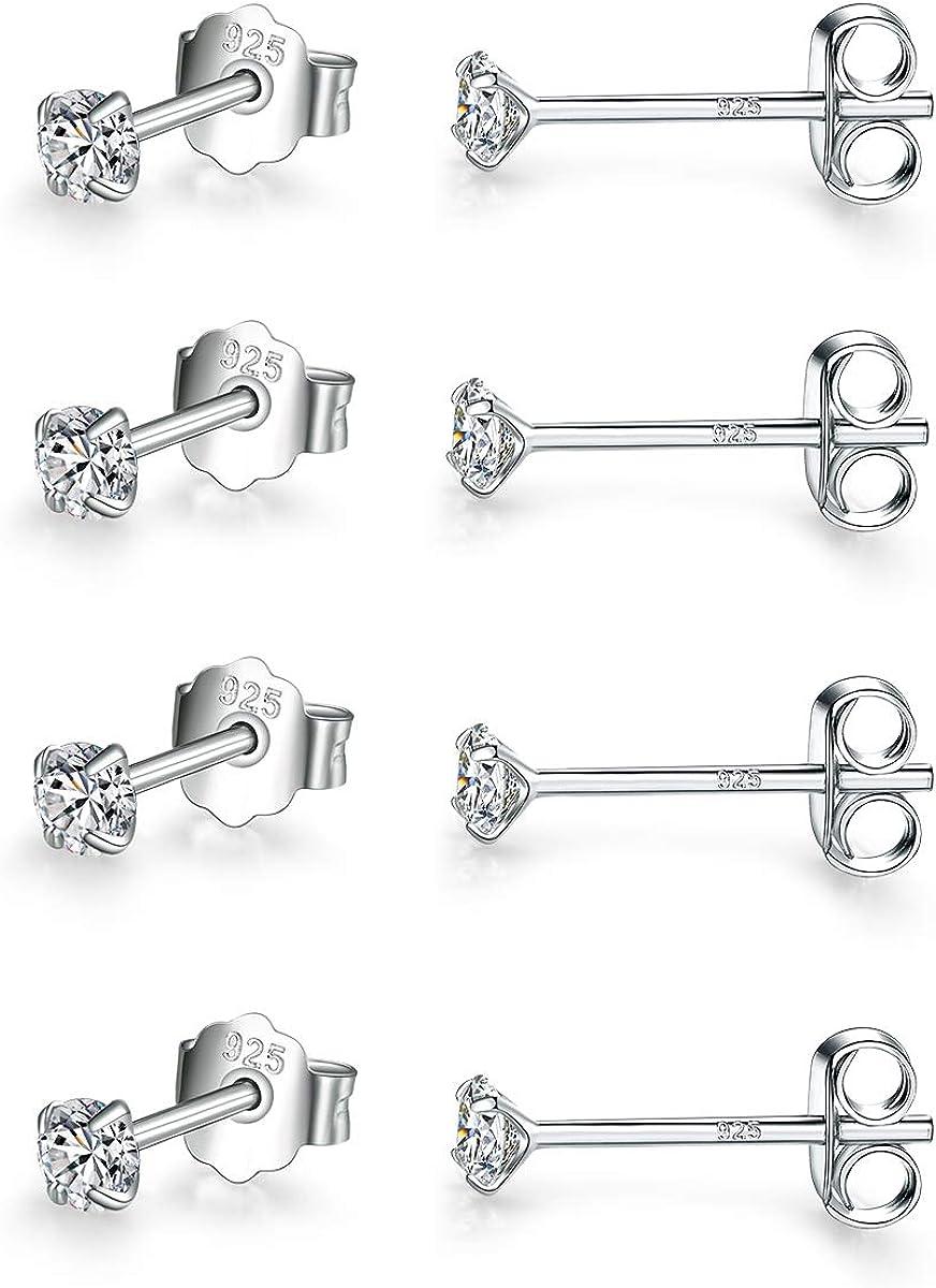 925 Sterling Silver Stud Earrings for Women,4 Pairs Round Cubic Zirconia Stud Earrings Hypoallergenic Earrings Set for Women Men Girls Gifts 3//4//5//6mm